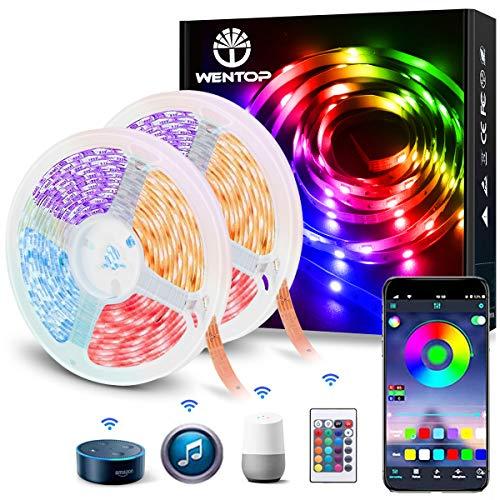 WenTop LED Strip 10m WiFi Smart Controller, SMD 5050 LED Streifen mit Fernbedienung 300leds für Schlafzimmer, TV, Deckenbeleuchtung und Dekorieren, Arbeiten Sie mit Google Assistant und Alexa