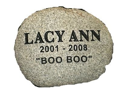 Pet Memorial Grave Marker Headstone 9' River Rock. Custom Engraved with Your Pets Name and Simple line of Endearment.