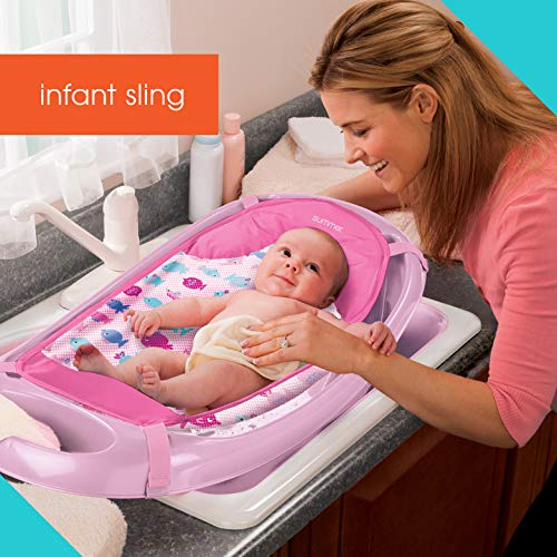 Summer Splish 'n Splash Newborn to Toddler Tub (Light Pink) – 3-Stage Tub for Newborns, Infants, and Toddlers – Includes Fabric Newborn Sling, Cushioned Support, Parent Assist Tray, and a Drain Plug