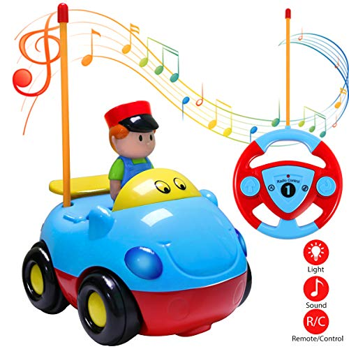 Joylink Control Remoto Coche, Coches RC Radio Control Remoto Coche Coches Teledirigidos Tren con Música y Luces para Bebés Niños (Blue)