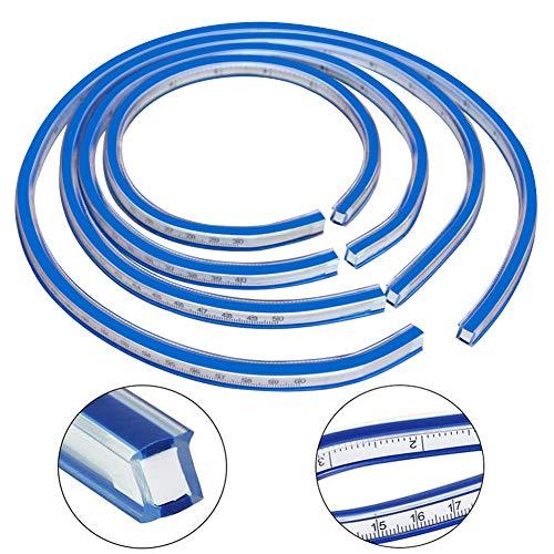 BESTZY Flexibles Kunststoff Kurvenlineal Maß Werkzeug für Das Zeichnen von Mal Grafiken Und Von Kleiderdesign Weiche Lineal Serpentine Maßband (50cm)