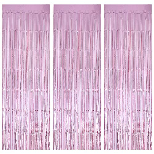 Geboor 3 Pack Metallic Tinsel Curtains 1 x 2.5m Fringe Foil Curtain for Wedding Birthday Party Door Windows Decorations Pink