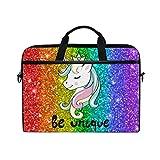 Linomo - Maletín para ordenador portátil, diseño de unicornio colorido, compatible con portátiles de 13 pulgadas, 14 pulgadas, 14.5 pulgadas, para mujeres, hombres, oficina, niños, escuela