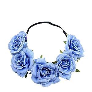 Cupcinu – Diadema de flores para boda, diseño floral (5 flores, color rojo), tela de seda, azul, 48 cm