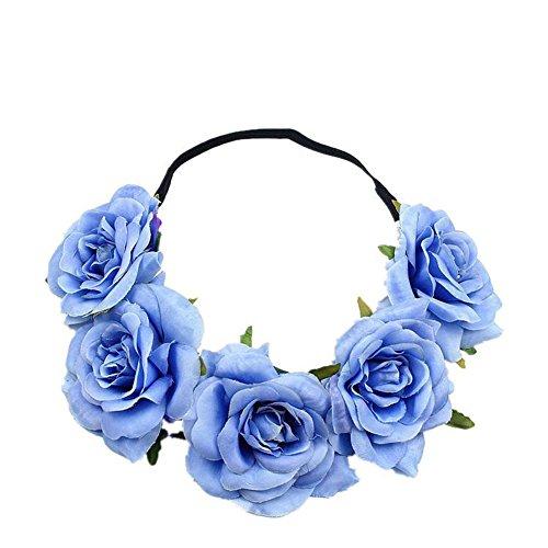 Kanggest Diadema de Flores Mujer Venda de Pelo Alta Elasticidad Rosas y Hoja Cinta de Pelo Banda Para la Cabeza Para Adornos Para el Pelo Boda(Azul)