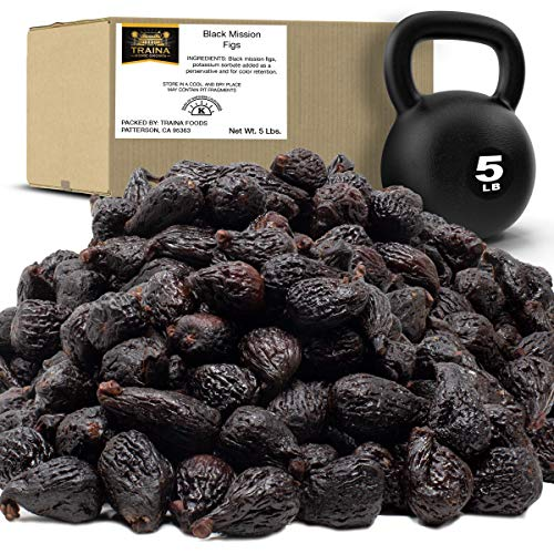 Traina Home Grown California Dried Whole Black Mission Figs - No Added Sugar, Non GMO, Gluten Free, Kosher Certified, Vegan, Value Size (5 lbs)