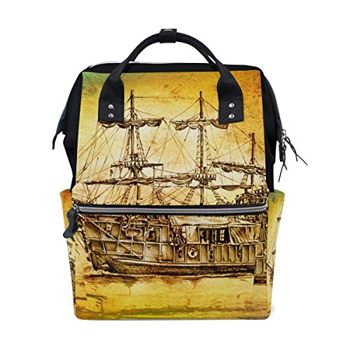 tizorax Antik Boot Meer Motiv Zeichnen Windel Rucksack Große Kapazität Baby-Bag Multifunktions-Wickeltaschen Mom Rucksack Reisen für Baby Care