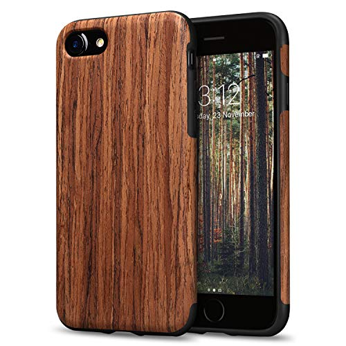 TENDLIN Compatible with iPhone SE 2020 Case/iPhone 8 Case/iPhone 7 Case Wood Grain Outside Soft TPU Silicone Hybrid Slim Case (Red Sandalwood)