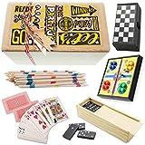 Partituki Pack Classic Jeux de Plateau Comprend: Parcheesi, Checkers, Domino, Poker Deck et Mikado