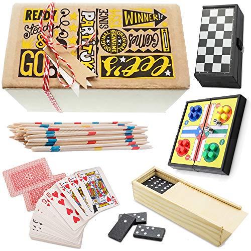 Partituki Pack Juegos de Mesa Clásicos Incluye: Mini Parchís, Mini Damas, Dominó, Baraja de Póker y Mikado