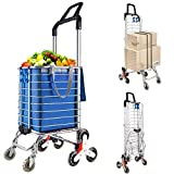 LEADALLWAY Portable Stair Climbing Cart with 8 Wheels, Heavy Duty Double Handle Rolling Grocery Laundry Utility Shopping Cart(Blue)