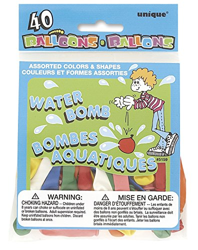 Unique Party 5159 - Latex Assorted Water Balloons, Pack of 40