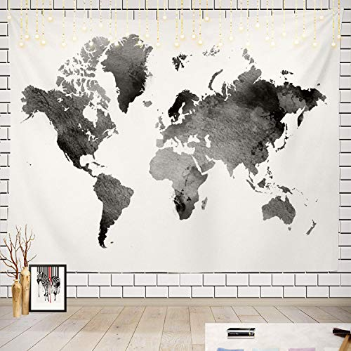 Batmerry Black and White Tapestry, Map of The World Map Watercolor Picnic Mat Beach Towel Wall Art Decoration for Bedroom Living Room Dorm, 51.2 x 59.1 Inches, Black White 5