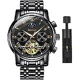 OLEVS Relojes mecánicos automáticos para hombres, cronógrafo mecánico automático con frase lunar luminosa reloj de pulsera Tourbillon