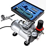Timbertech Airbrush Kit with Compressor ABPST05 Double Action Airbrush Gun and Accessories (Nozzles, Hose etc.)