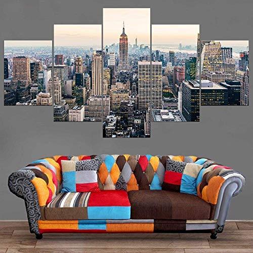 Bibilongbk New York Manhattan lienzo multipanel XXL de 5 partes, mesa impresa sobre lienzo, decoración de mesa, pentágono en forma de A, decoración de paredes (100x50 cm sin marco)