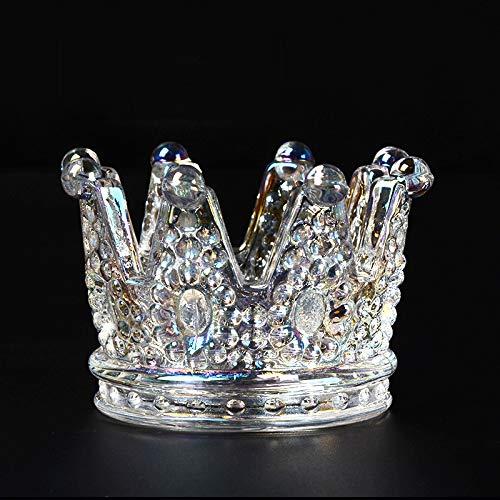 Abimy Cenicero de cristal transparente con corona para ahumar y portavelas para decoración del hogar