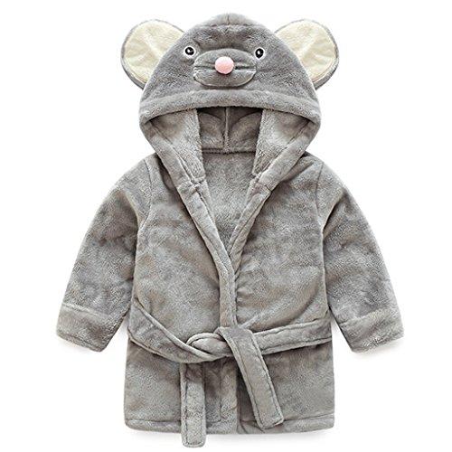 Baby Bademantel Mit Kapuze Jungen Mädchen Nachtwäsche 0-12 Monate,Grau