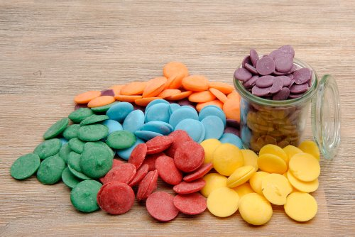 yagma Cake Pop Glasur - Candy Melts, Regenbogenmix (rot, orange, gelb, grün, blau, violett)