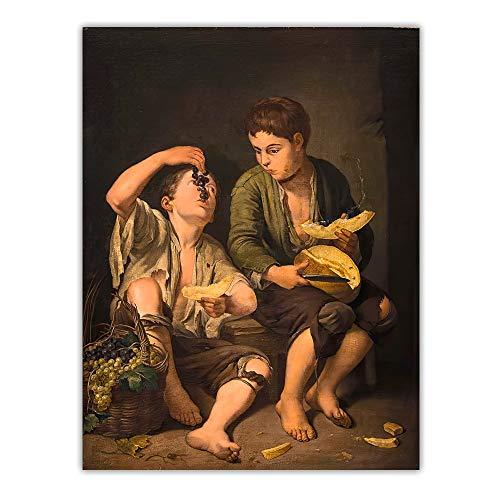 EUpMB Cuadro sobre Lienzo impresión en lienzo Citon Murillo 《Uvas y Melon Eater》 50x65cm Decoración del hogar imágenes cartel colorido decoración hogar