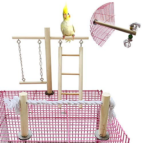 PINVNBY Parrot Climbing Ladder Swing Toy Natural Wood Bird Cage Play Gyms Playground Stand Rope Perch for Parakeet Cockatiel Conure Love Birds Finch African Grey Macaw Amazon Budgies