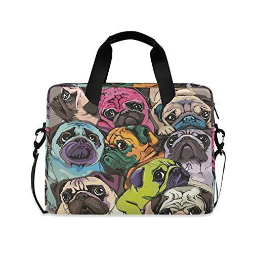 Portrait Of Many Pugs Laptop Shoulder Messenger Bag for 15.6 inch 16 inch Laptop Sleeve Case Travel-Friendly Briefcase