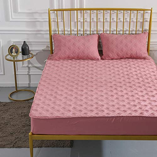 YFGY Extra Deep Fitted Sheet king,Cotton Quilted Fitted Bed Sheet Protector, Non-Slip Mattress Cover Solid Color Hotel Bedspread Pink 3 150 * 190cm