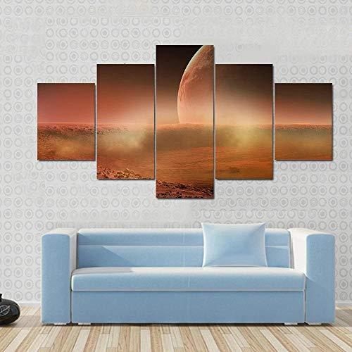QQQAA 5 Piezas Cuadro Lienzo Impresiones en Lienzo HD Carteles Decoración para el Hogar Sala Estar Arte Pared Imágenes 5 Partes Vista Marte Desde Fobos Pintura