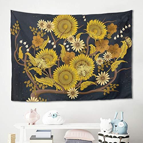 Niersensea Tapiz decorativo para pared con flores artificiales, margaritas, girasoles, picnic, playa, sofá, habitación infantil, playa, tiempo libre, manta blanca, 100 x 150 cm