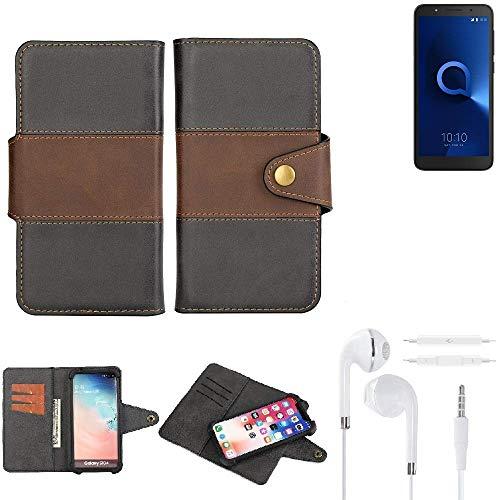 K-S-Trade® Handy-Hülle Schutz-Hülle Bookstyle Wallet-Case Für -Alcatel 1C Dual SIM- + Earphones Bumper R&umschutz Schwarz-braun 1x