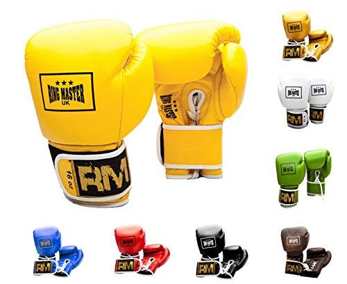 RingMasterUK - Guantes de boxeo profesionales de piel auténtica, color amarillo, Mujer Hombre, BG-10024, Amarillo, 454 g