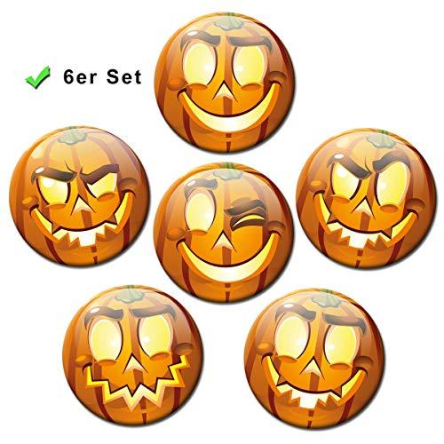 Kühlschrankmagnete Smiley 6er Geschenk Set Magnete Halloween Emoji lustig für Magnettafel Kinder stark groß Ø 50 mm