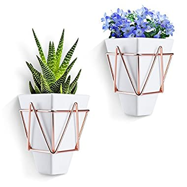 Love-KANKEI Wall Desk Planters Vase White Ceramic Copper - Succulent Air Plants Mini Cactus Artificial Flowers Hanging Geometric Wall Decor Planter Pots