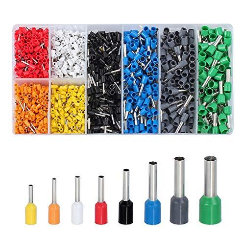 CAMWAY 1200er Aderendhülsen Sortiment Kabelschuhe Set Mit 8 Farben, Isolierhülsen 0,25-6mm², Elektrische Verzinnte Kabelschuhe Set Aderend-Isolierhülsen aderendhuelsen, für Heimwerker