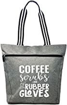 Large Nursing Zippered Tote Bags with Pocket for Nurses - Perfect for Work, Gifts for CNA, RN, Nursing Students (Coffee Scrubs Gray)