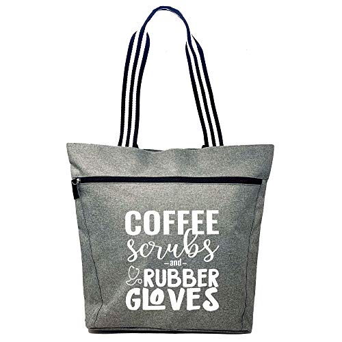 Large Nursing Zippered Tote Bags with Pocket for Nurses - Perfect for Work  Gifts for CNA  RN  Nursing Students (Coffee Scrubs Gray)