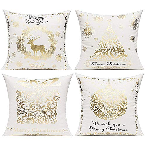 Christmas Snowflake Velvet Decorative Pillow Cushion Covers Modern Christmas Tree Reindeer Snow Gift Throw Pillow Covers Xmas Holiday Bronzing Home Decor for Couch Sofa Bed 18x18 Inch Set of 4