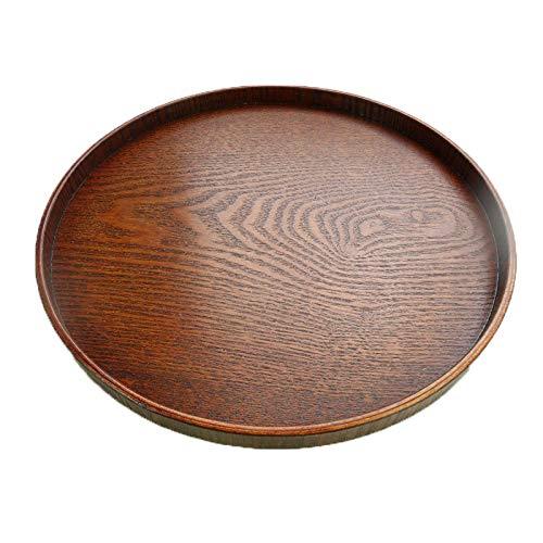Byilx Teller aus massivem Holz, rund, für Tee, Obst, Essen, Bäckerei, holz, einfarbig, XX-Large