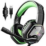 EKSA Gaming Headset with 7.1 Surround Sound Stereo, PS4 USB Headphones with Noise Canceling Mic & RGB Light, Compatible with PC, PS4, Laptop (Green)