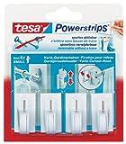 Tesa 58034-00007-00 4 Vario-Gardinenhaken inkl. Mini Powerstrips 6er Pack weiß