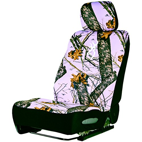 Browning Camo Low Back Seat Cover, Pink Break-Up, Single