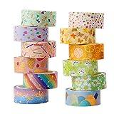 Cinta Adhesiva Decorativa, 12 Rollos Washi Tape, Cinta Adhesiva Decorativa Washi, Set de Cinta Washi, Cintas Washi para Manualidades, para Envolver Regalos de Decoración Navideña, 15 mm x 3 m