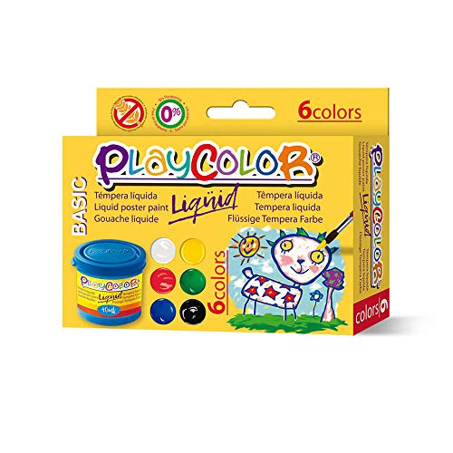 Instant Gouache Témpera Playcolor Liquid 40ml 6 Colores, Variados, 6 (19931)