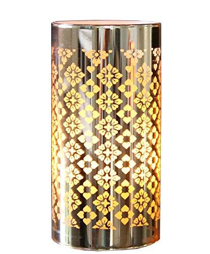 LED lantaarn kaars licht met spiegelfolie goud timer batterij