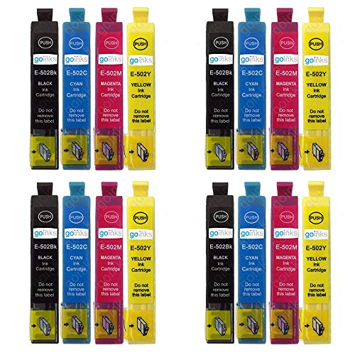 4 Go Inks Set van 4 inktcartridges ter vervanging van Epson 502XL Compatible/non-OEM voor Epson Workforce & Expression Printers (16 inkt)