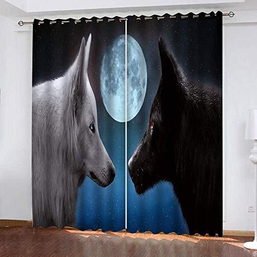 fgjorics Tende Oscuranti 3D Moon Night Dog Tende Stampate Decorative per La Casa Tende Oscuranti Tende Termoisolanti per Camera da Letto dei Ragazzi 250 (H) X140 (L) Cmx2