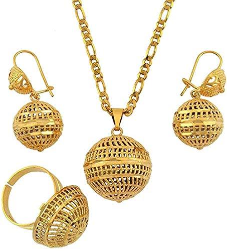 Collar de perlas árabes Conjuntos de joyas Collar de boda africano Pendientes Anillo para mujer Bola Png Emiratos Árabes Unidos Regalos Longitud 60Cm X 3Mm Cadena Colgante Collar Regalo para mujeres H