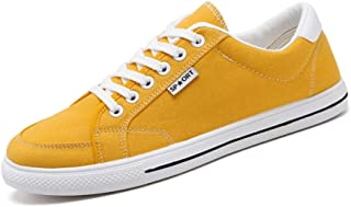 Shangruiqi Fashion Sneakers for Men Casual Skater Sports Shoes Low Top Lace Up Stitch Canvas Walking Shoes Round Toe Anti-Slip Anti-Wear (Color : Yellow, Size : 7 UK)