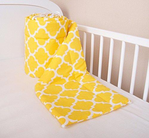 Bettumrandung Nest Kopfschutz Nestchen 420x30cm, 360x30cm, 180x30 cm Bettnestchen Baby Kantenschutz Bettausstattung Indien Gelb (360x30cm)