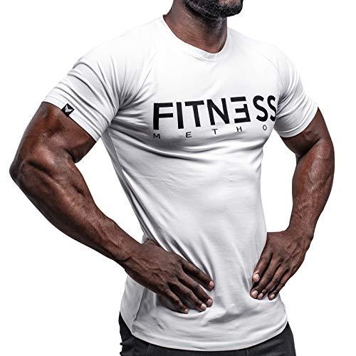 Fitness Method, Sport T-Shirt Herren, Slim-Fit Shirt bequem & hochwertig Männer, Rundhals & Tailliert, Training & Freizeit, Gym & Casual Workout Mann, 95{f3b321e9159703c14877f86b947f692c37cdf08db35413e482bbc246be8ae70c} Baumwolle, 5{f3b321e9159703c14877f86b947f692c37cdf08db35413e482bbc246be8ae70c} Elastan, (Weiß-Schwarz, L)
